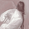 "avia: A girl with folded and fluffed mute swan wings in a ""busking"" pose, seen from behind. (swan maiden self)"