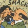 radondoran: Professor Calculus kisses Captain Haddock (Tintin - smack!)