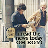 muccamukk: Starsky and Hutch walking together. Starsky reading a paper. Text: I read the news today, oh boy. (S&H: News)