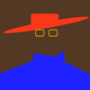 "onyxlynx: Red hat shape, two yellow squares simulating glasses, blue ""turtleneck"" on brown background. (Externalities)"