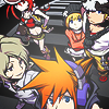 theworldendswithyou: The children of The World Ends eith You, looking up at the camera. (TWEWY Cast)