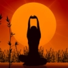 omly: silhouette of a person doing yoga (yoga)