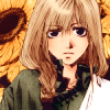 elsane: kanan from saiyuki, dressed as hakkai, before a backdrop of sunflowers (kanan)