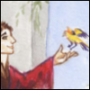 jenett: A man reaching for a bird, away from his studies (priest away from his books)