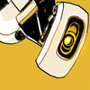 salticidae: GLaDOS from portal against a solid yellow-orange background (glados)