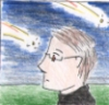 icarus_night: A man staring blankly at shooting stars (Default)