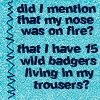 muccamukk: Text: Did I mention that my nose was on fire? That I have 15 wild badgers living in my trousers? (B5: Nose on Fire)