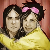 muccamukk: Jubilee hugging a bewildered Laura in a photo booth. (Marvel: Girl Hugs)