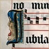 stranger: Illuminated music manuscript with singing face (music jubila)