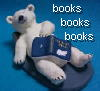 "bethbethbeth: Polar Bear sculpture on back, holding a book, with words ""books books books"" (Booksbooksbooks (bethbethbeth))"
