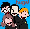bethbethbeth: Cartoon Potter Pals Snape surrounded by Harry, Hermione, and Ron (HP Hugs (Potter Pals))