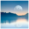 dysis: sunset moon over water (Default)