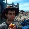 ext_13332: Me at Crater Lake, wearing a hat and eating an apple. (Hat and apple)