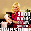 thingswithwings: leslie knope smiling, text: 5000 words on why you're awesome (p&r - leslie 5000 words on why you're aw)