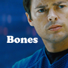 "slash4femme: Dr. McCoy from the 2009 Star Trek movie looking ahead on a blue background with the word ""Bones"" in while next to him. (Star Trek remixed)"
