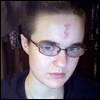 at_sign: Me with a crude lightning-bolt scar drawn on my forehead (me)
