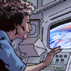 odditycollector: Woman staring through a window of a space shuttle. The curve of the Earth fills her view, bright and blue. (Perspective)
