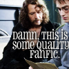 "shyfoxling: Sirius and Harry looking at photo, text ""Damn, this is some quality fanfic."" (approve (quality fanfic))"