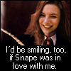 "shyfoxling: Lily Evans with text ""I'd be smiling, too, if Snape was in love with me."" (severus lily (smiling too))"