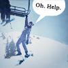 """alicamel: Sophie hanging off a ski lift.  """"Oh.  Help."""" (sophie - oh.  help.)"""