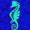 sharpest_asp: a bright blue tribal seahorse (General: Tribal Seahorse)