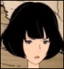 tatamigalaxy: A dully colored picture of a female who looks a little shocked, but very stoic. (tatami galaxy, akashi)
