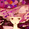 esmenet: a girl wearing a wide-brimmed hat surrounded by pink fish (pretty in pink fish)
