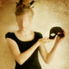 amihan: art showing a model wearing a black dress and holding a mask ([stock] mask)