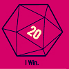 "sofiaviolet: line drawing of a d20 that has rolled a 20 and, in tiny letters below it, ""I win."" (i win)"