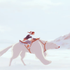 delphi: Korra and Naga in profile, riding over the snow. (korra riding)