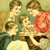 girlycon: Book cover illustration of 5 white children around a table, from 1880 (five little peppers, white girls)