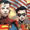 teland: Dramatic imagery of Kon and Tim against the backdrop of an American flag. (Tim/Kon: Feel the World's Finest mojo.)