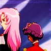 gloss: prince & her bride facing away (Utena - (she makes me dangerous))