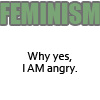 """veleda_k: Text says """"Feminism: Why, yes, I am angry (Feminism)"""