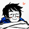 tragedy_virus: john from homestuck looking up and smiling with a heart near his head (this is my happy face)