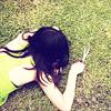 tragedy_virus: dark-haired girl face down on the grass (girl brunette)