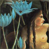 stranger: Rousseau painting detail of woman and bue flowers (blue flower woman)