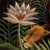 stranger: Rousseau painting detail, flower and lion's face (rousseau lion)