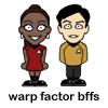 "helens78: Tiny Sulu and Uhura cartoons with ""Warp Factor BFFs"" caption (st: sulu/uhura BFF)"