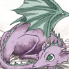 cleo: A purple and green baby dragon from deamon diary (r&i: Maura watches J walk away)