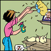 lizcommotion: comic-book image of a woman dusting while a cat sleeps on a pile of dirty laundry (cleaning frantic cat)