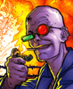 antongarou: Spider Jerusalem lighting a cigar with a huge fire in the background (spider)