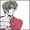 truthsnomiracle: Edgeworth has his arms crossed and is looking over his shoulder at you with a snarky grin. (Amused)