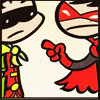 gloss: two little Robin heroes arguing (Robins: listen close)