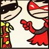 gloss: two little Robin heroes arguing (Robins: listen close)