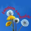 fandomcalendar: dandelion flowers and puffs on a bright blue background (dandelions)