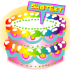 "subtext: A big shiny fabulous rainbow cake, labeled ""subtext."" (Default)"