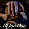 "gingicat: the hands of Doctor Who #10, Martha Jones, and Jack Harkness clasped together with the caption ""All for One"" (all for one)"