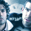 quillori: Sylar & Mohinder, text reads 'Mylar' (heroes: mylar)