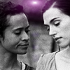 briar_pipe: Guinevere and Morgana leaning toward each other (Gwen & Morgana)